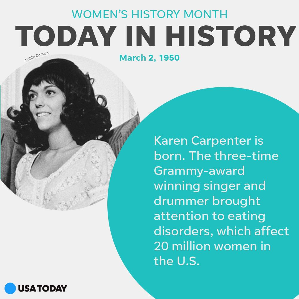 #TodayInHistory Grammy-award winner Karen Carpenter was born. Her struggles with anorexia brought public attention to the eating disorder, something millions in America are affected by today. women.usatoday.com #WomensHistoryMonth