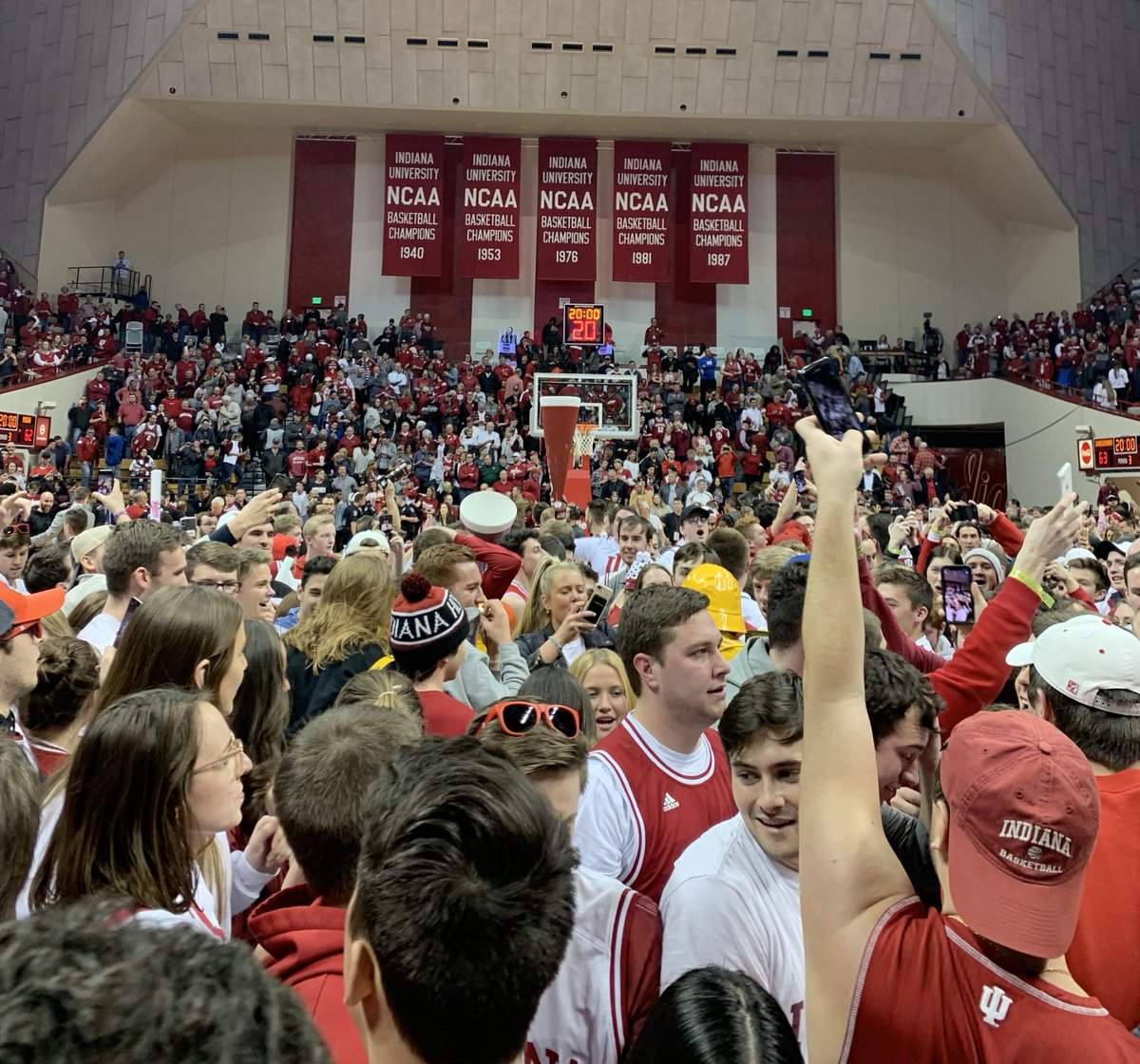 Last home game as a student:  - Comeback win against #6 Michigan state - Tournament back in the picture - Stormed the court