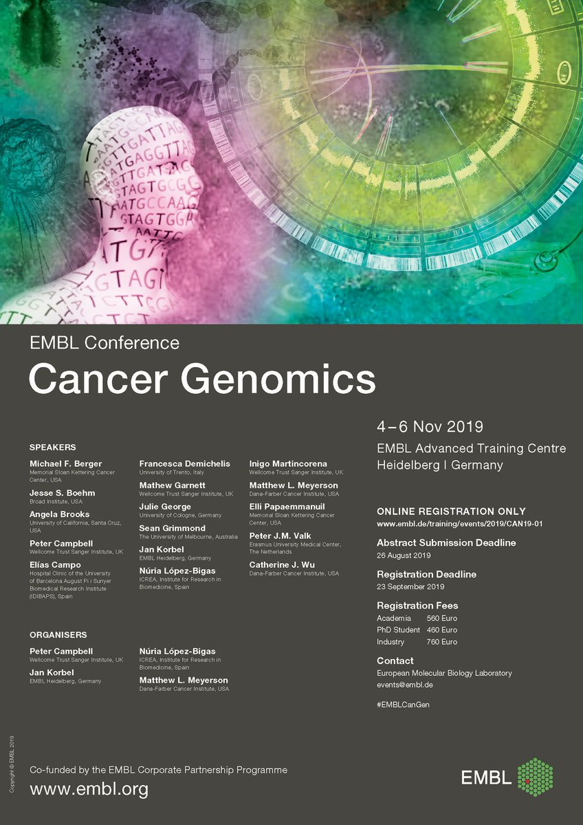 Join us at the EMBL Conference: Cancer Genomics, covering presentations from #cancer genome projects, functional #genomics, systems biology, cancer immunogenomics and epigenomics, cancer mouse models and the translation and clinical impacts. #EMBLCanGen  https://www.embl.de/training/events/2019/CAN19-01/index.html …