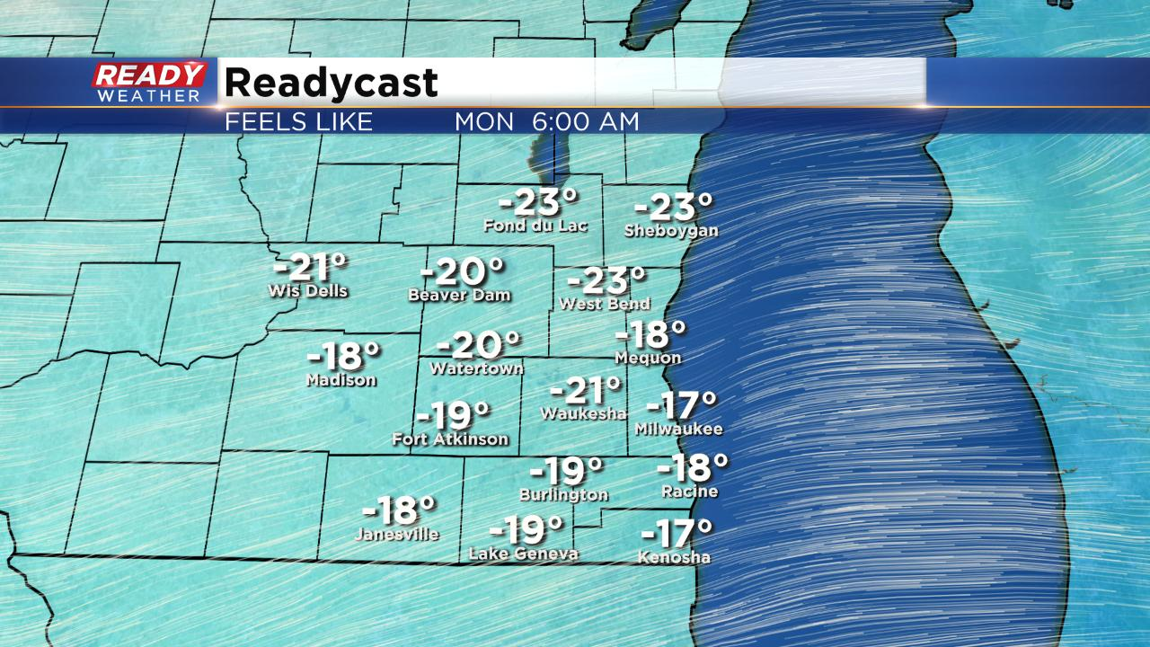 Wind Chills Below Zero Forecast for Early Monday Morning