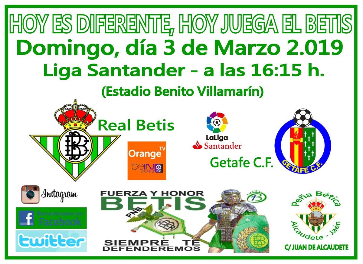 Hoy es diferente, hoy juega el Betis. 26º Jornada de la liga Santander 18/19 Vente a verlo a la peña!!! C/ Juan de Alcaudete. Real Betis Balompié - Getafe C.F. (Estadio Benito Villamarín)