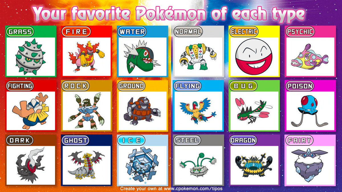 Least favourite of each type? I feel bad that Carbink is here!