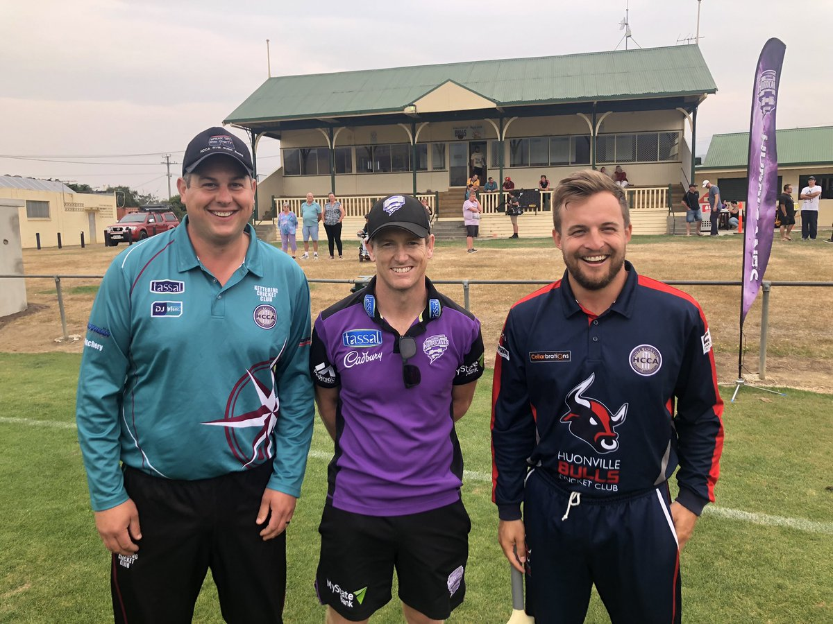 George Bailey was the special guest at our Junior Clinic before the Huon Channel Bushfire Relief T20 today. 😅 #TasmaniasTeam
