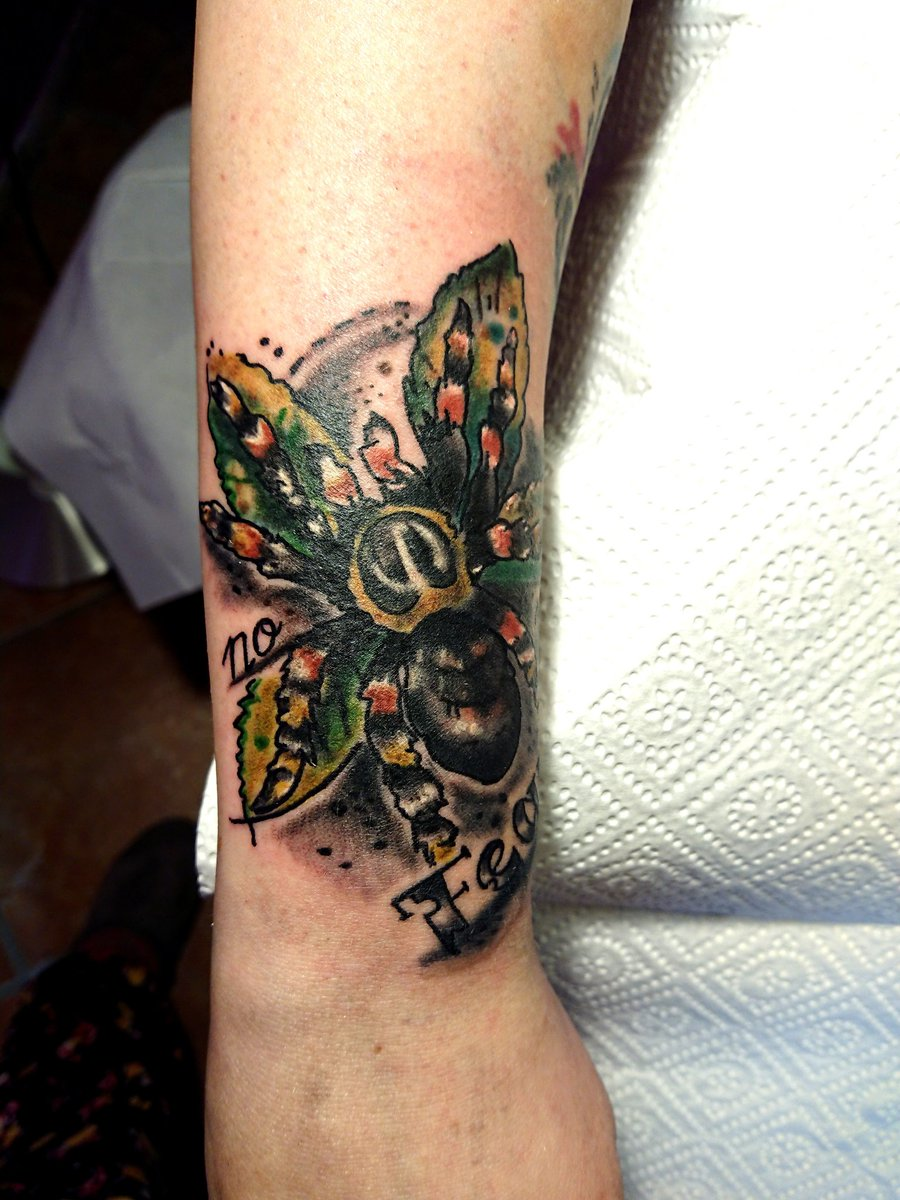 Had my first tarantula Negan tattooed yesterday. Comic-Art. Love it so much #tarantula #brachypelmasmithi #brachypelmahamorii #tattoo #comicartpic.twitter.com/f3997i8vWv