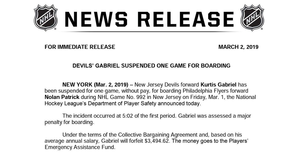 ICYMI: The #NHL has Suspended #NJDevils forward Kurtis Gabriel for one game for boarding Flyers forward Nolan Patrick #PHIvsNJD