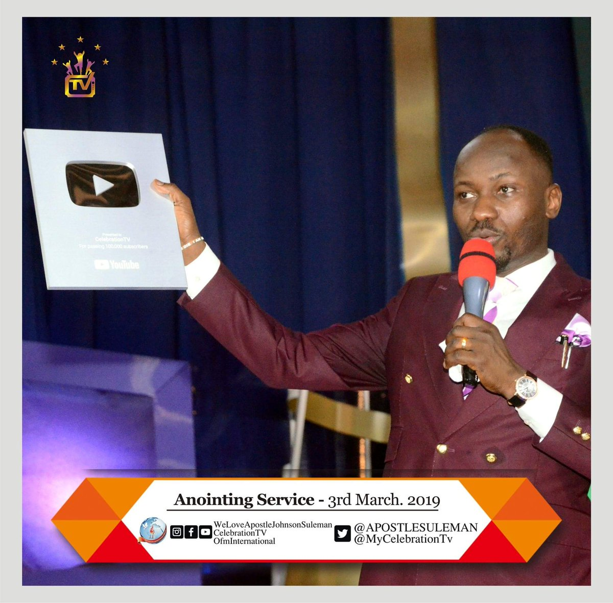 Ofm Hamburggermany On Twitter The Ceo Of Celebration Tv Apostle Johnson Suleman Has Received A Silver Creator S Award From Youtube For Passing 100 000 Subscribers Anointing Service Ofm Hq 2nd Service Apostlejohnsonsuleman