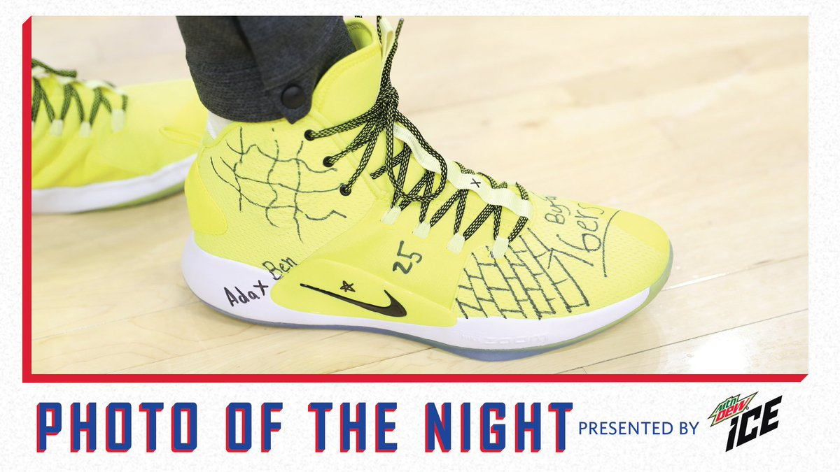 fe6f1c02b BenSimmons25 sporting yellow shoes with custom artwork from 10-year-old   MakeAWish kid Ada P. from New Jersey.  MountainDew