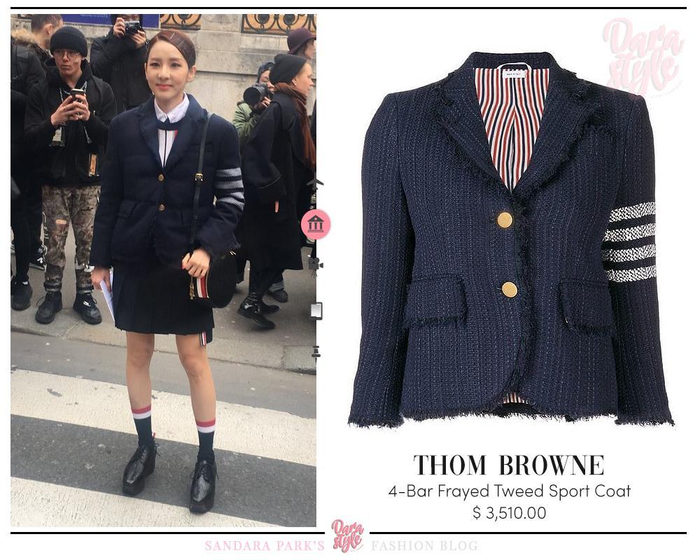 c0f8ba56efb ... #DARA at Thom Browne's F/W 2019 Fashion Show, wearing: #THOM_BROWNE  4-Bar Frayed Tweed Sport Coat #THOM_BROWNE Navy Asymmetric Pleated Skirt ...