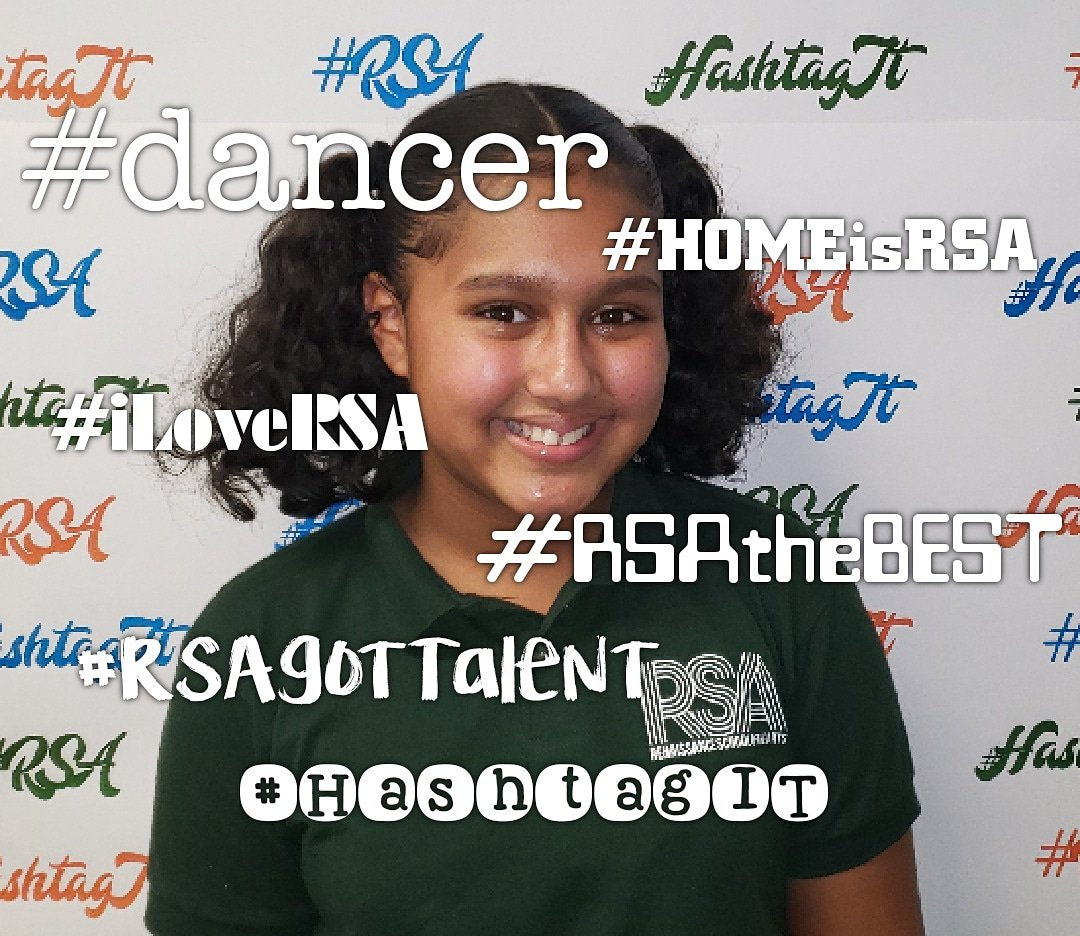 Student: Taryn RSA grade: 7th RSA duties: S. G. 7th grade rep 5 positive hashtags that describe her feelings about RSA: #Dancer #RSAtheBEST #RSAgotTalent  #iLoveRSA  #HOMEisRSA 💙💚🧡 We love you too! #HashtagIT  #Champions4Children  #TheBESTPerformingArtsSchoolinD4 – at Renaissance School of the Arts