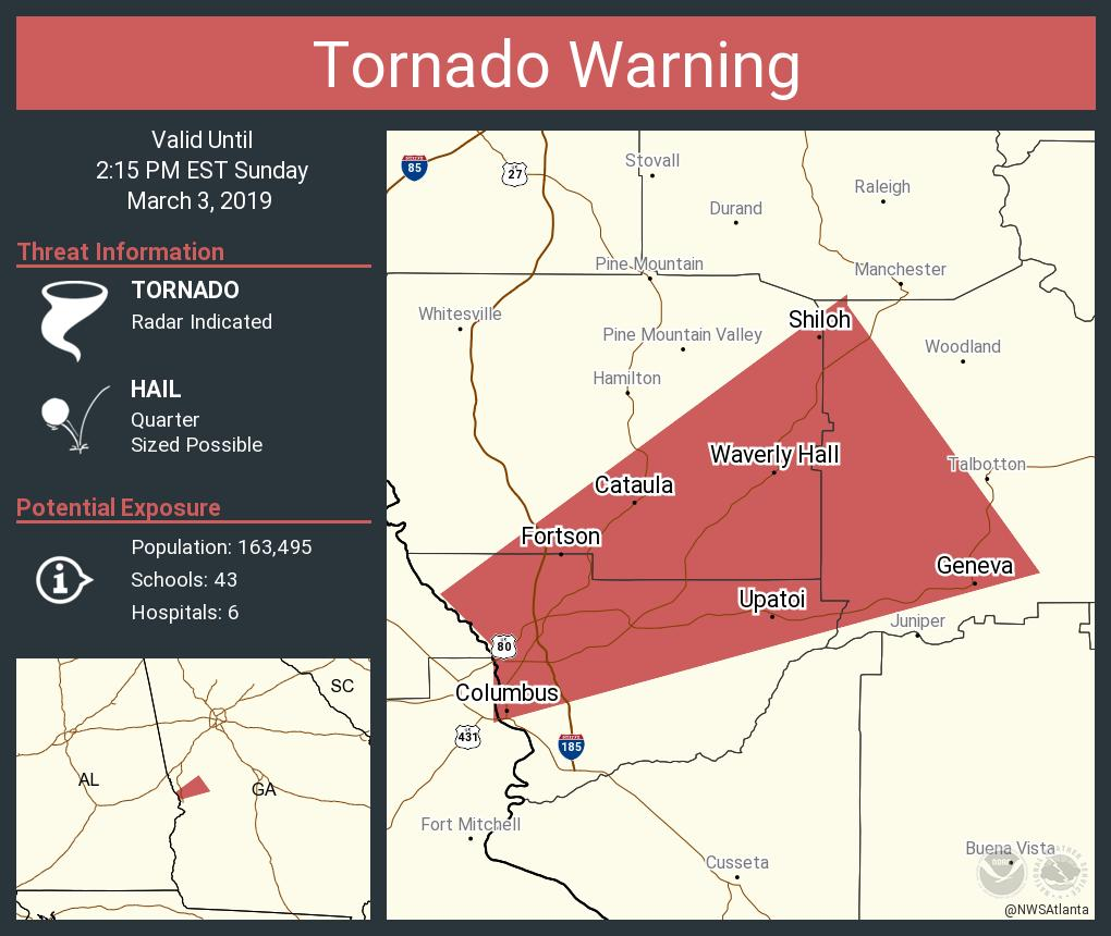 Nws Atlanta On Twitter Tornado Warning Including Columbus Ga