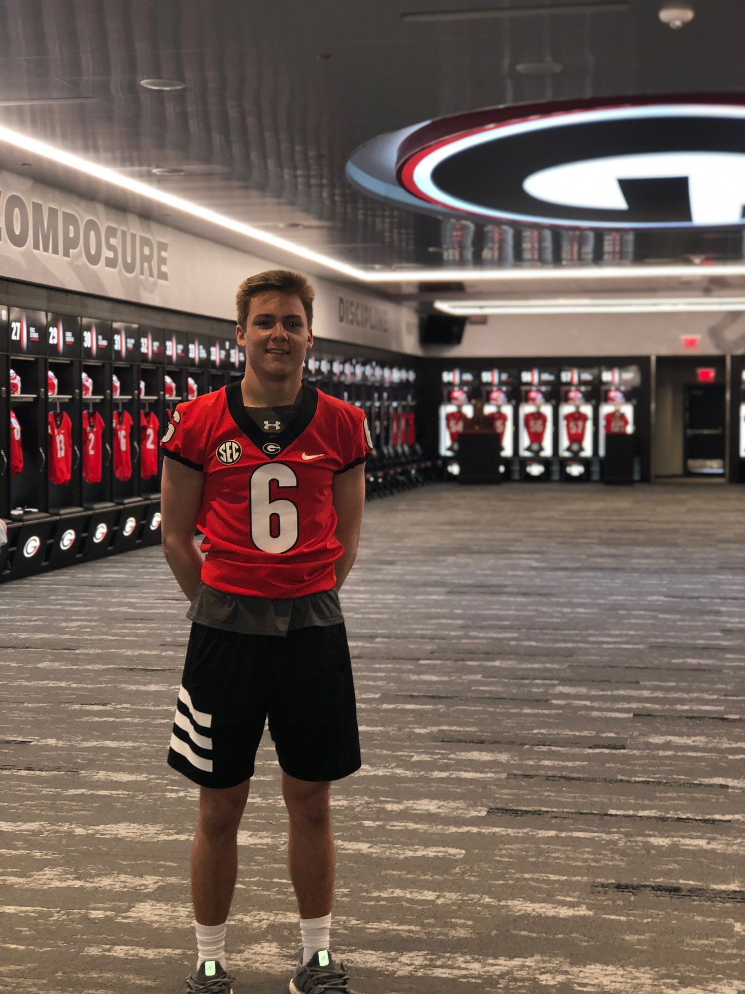 PHOTO: Jackson Muschamp while on visit to UGA in March of 2019, Twitter