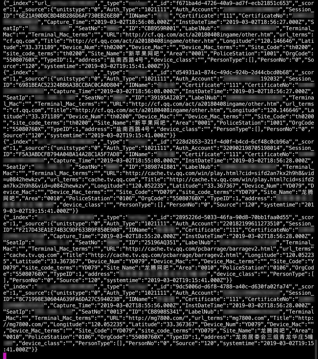 database sorveglianza cina