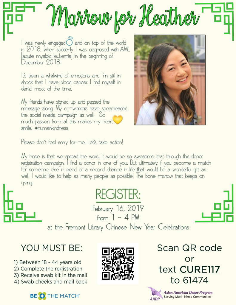 866da1301348 ... down in December 2018 when she was diagnosed with  leukemia. Please  share her story and register now at  http   join.bethematch.org MarrowForHeather …