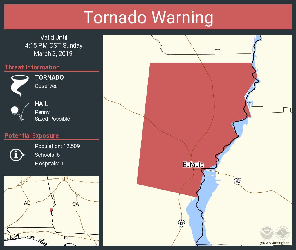 Tornado warning continues for eufaula al until 4:15 pm cst
