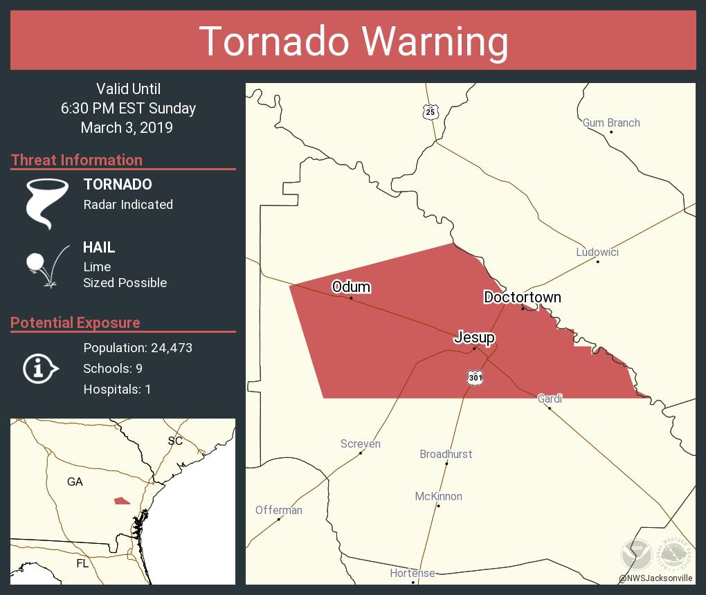 Map Of Jesup Georgia.Nws Tornado On Twitter Tornado Warning Including Jesup Ga Odum Ga