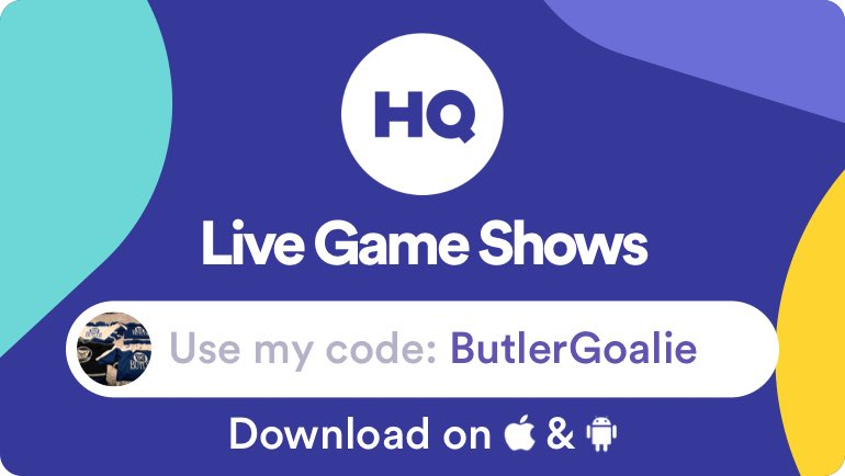 Play live game shows and win cash prizes with me on @hqtrivia. Use my code 'ButlerGoalie' to sign up! https://get.hqtrivia.com  $130,000 game in 30 minutes.