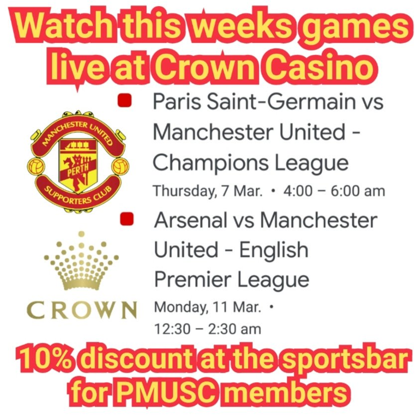 Join PMUSC at the Casino for all the action this week.   #perthwesternaustralia #mutour #unitedinperth  #seeperth #justanotherdayinwa #crowncasino #perth #manutd #manchester #united #pmusc #perthreds #mufc #perthmusc #crowncasinoperth #Sandalford #Sandalfordwines