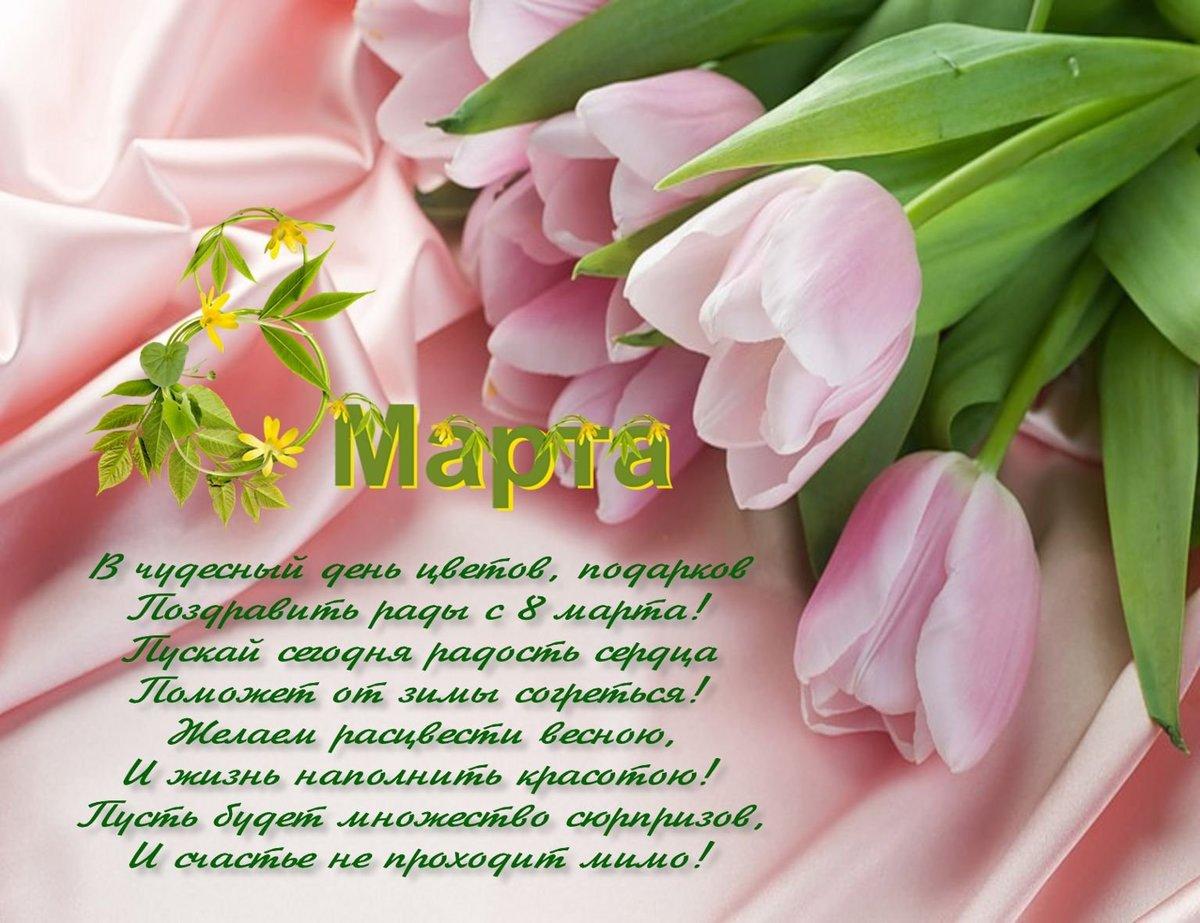 Открытка к 8 марта и поздравление