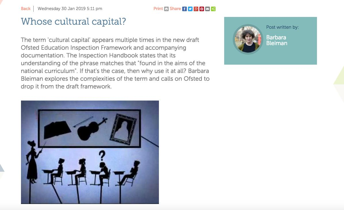 In a new EMC blog @BarbaraBleiman opens up the debate on 'cultural capital' raising questions about what we mean by it and arguing that it's a highly complex idea being applied much too simply in discussions about the curriculum. https://www.englishandmedia.co.uk/blog/whose-cultural-capital…