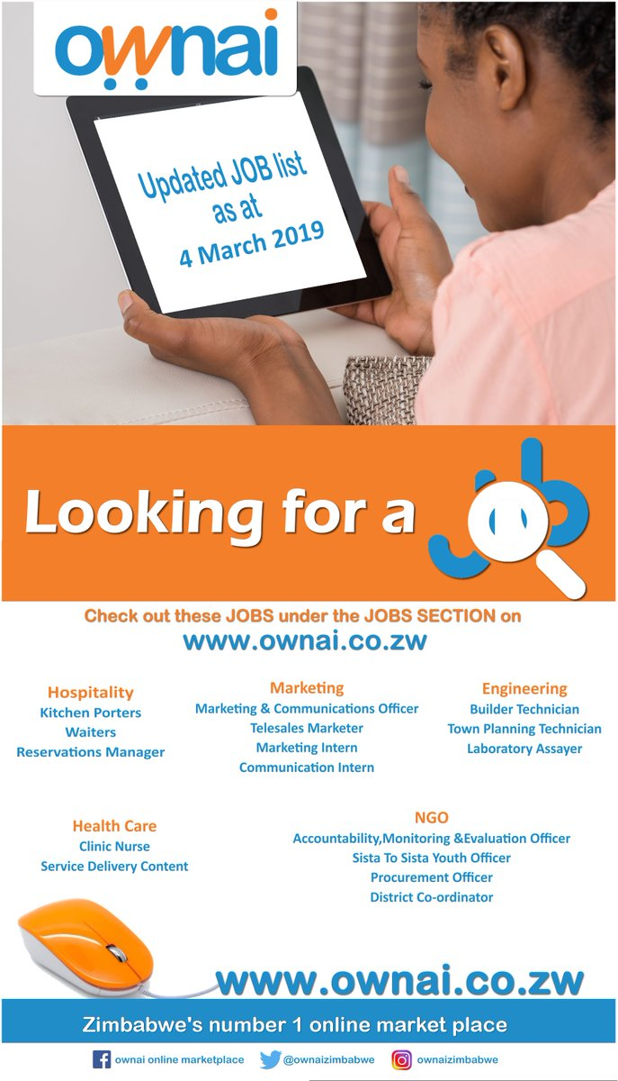 Looking for a job? Visit http://ownai co zw for a list of