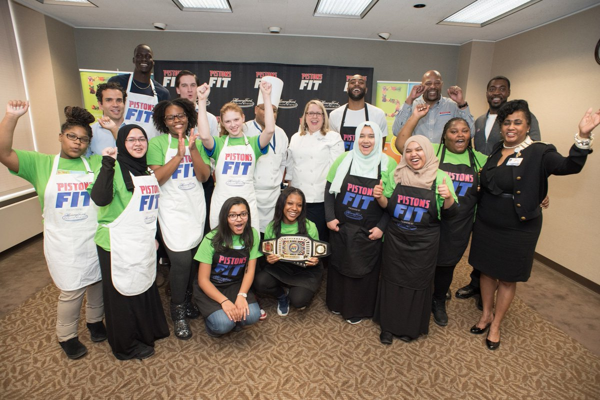 Good food + good fun at our #PistonsFit Ready Set Cook Competition with students from #GWP. #NBAFit