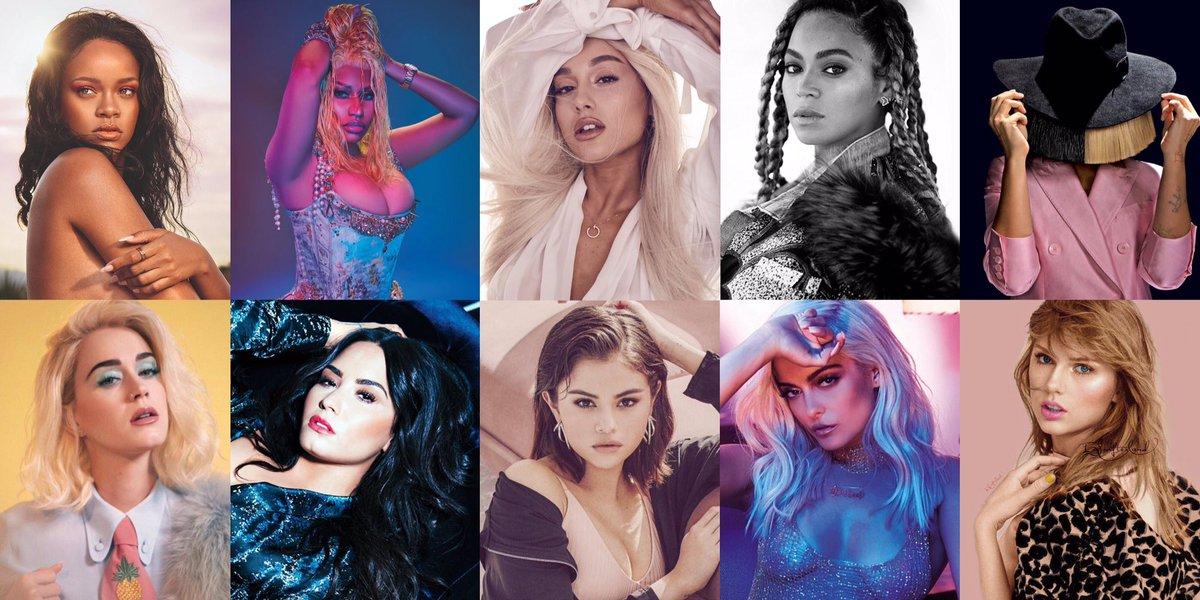 Females with most 100M streamed songs on Spotify:  1. Rihanna (45) 2. Nicki Minaj (36) 3. Ariana Grande (28) 4. Beyoncé (21) 5. Sia (20) 6. Katy Perry (20) 7. Demi Lovato (17) 8. Selena Gomez (16) 9. Bebe Rexha (15) 10. Taylor Swift (15)