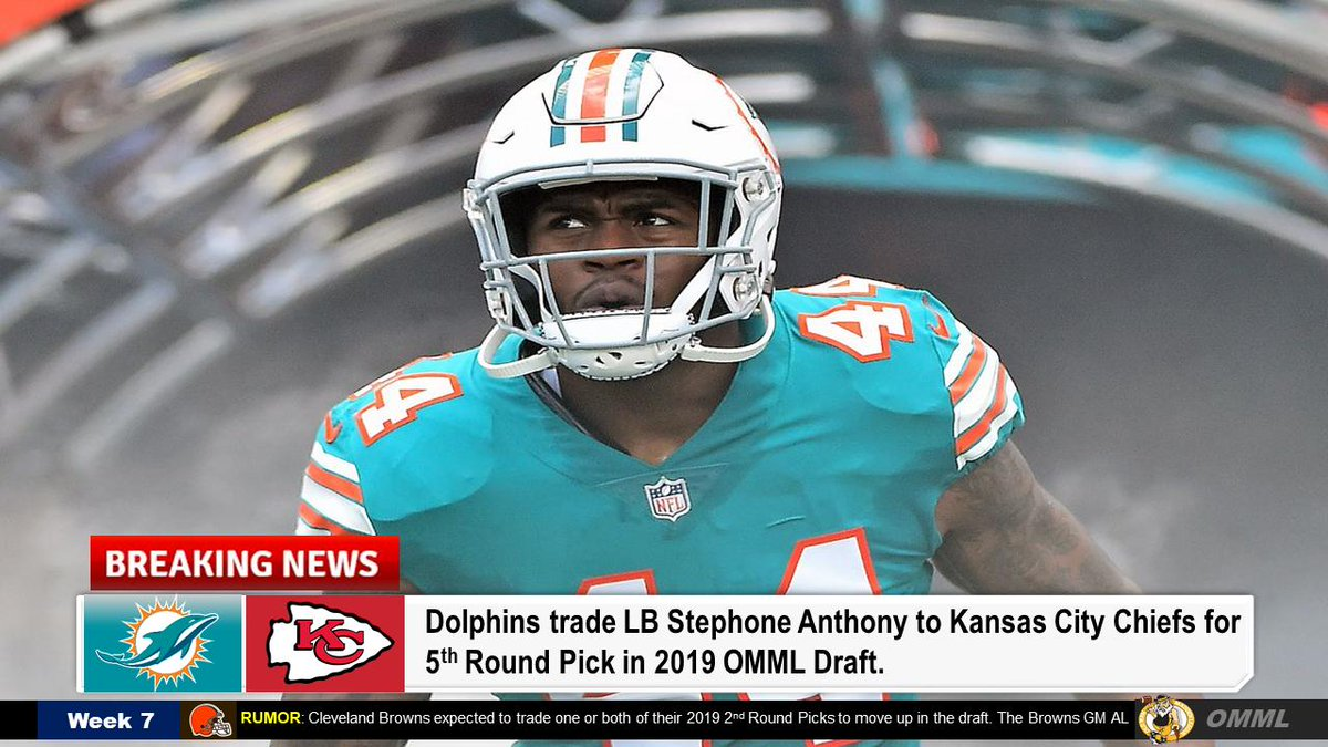 OFFICIAL TRADE ANNOUNCEMENT: The Dolphins have officially traded outside linebacker Stephone Anthony to Kansas City Chiefs. Dolphins will receive a 5th Round Pick in 2019 OMML Draft. Team will have a brief press announcement tomorrow. @OMML_League<br>http://pic.twitter.com/7ed60yWoHp