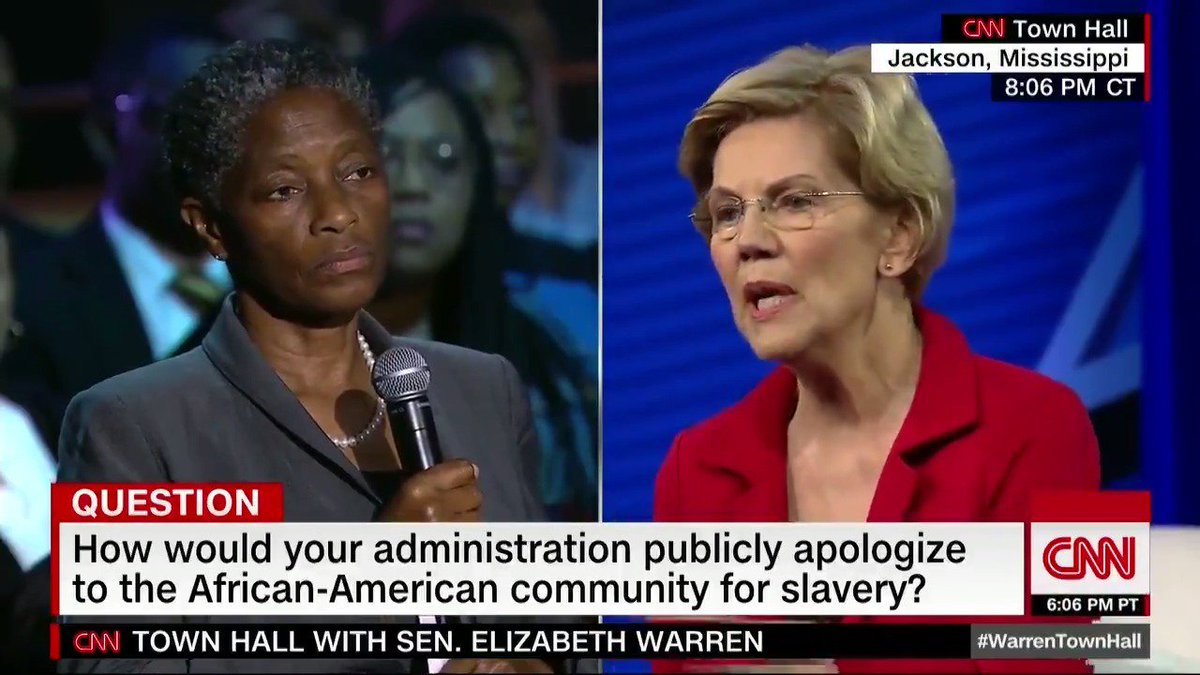 Elizabeth Warren says there needs to be a national conversation about reparations and calls for a congressional commission to study the issue, but does not commit to direct payments - CNN