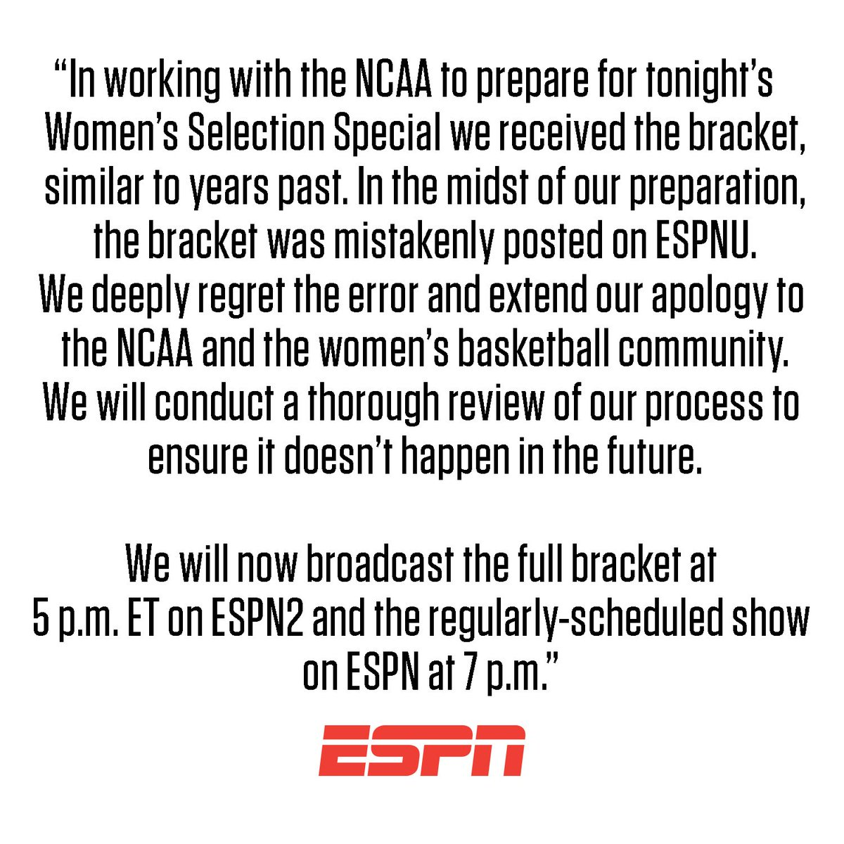 ESPN Statement Regarding the NCAA Women's Tournament Bracket https://es.pn/2TQj0VP