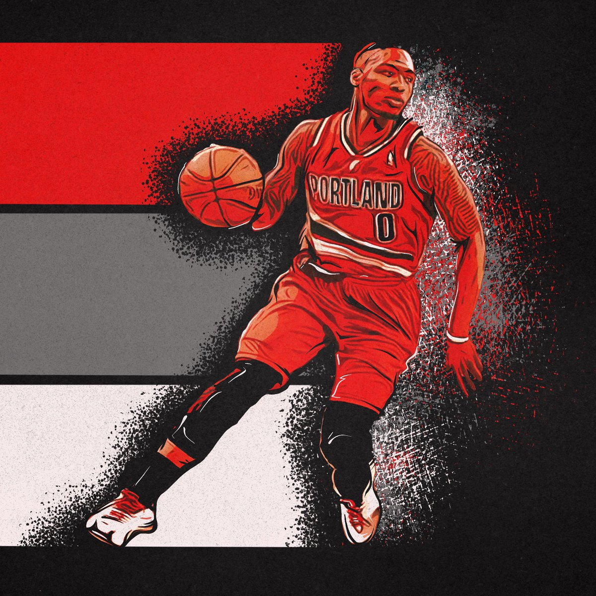 Finished this Dame piece this morning. Sometimes interests cross paths, and it's fun. • #ripcity #damianlillard #adidas