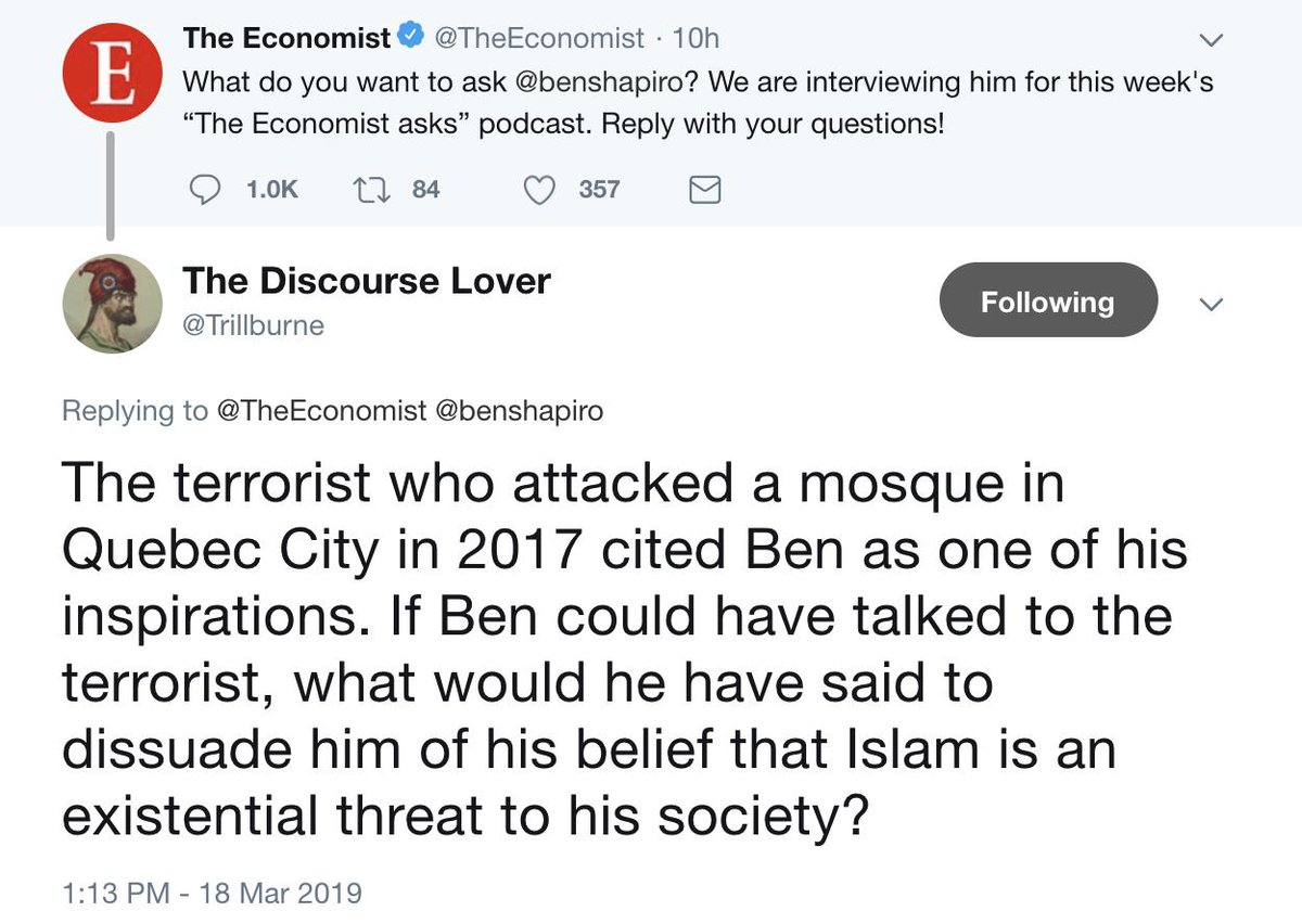 Hi @TheEconomist. Please ask @benshapiro this question during your interview.