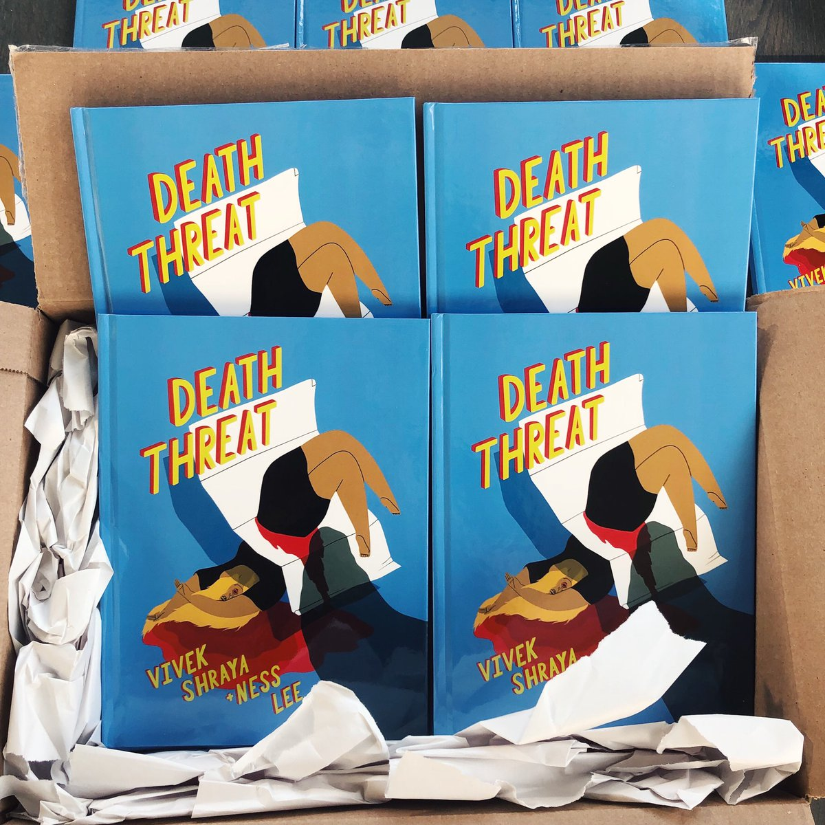 SHE'S HOME! 😭💙🔪✉️  Pub date: May 7.  Pre-order: https://vivekshraya.com/store/   #deaththreatcomic