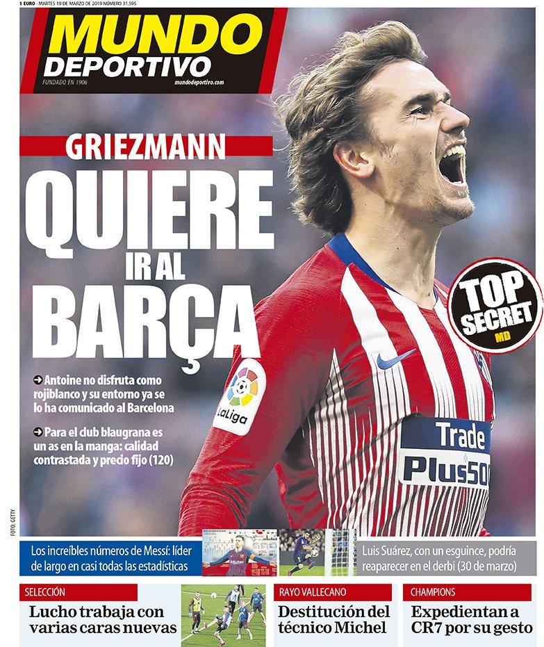 #TOPSECRETMD  🔵🔴 'Griezmann quiere ir al Barça' https://www.mundodeportivo.com/elotromundo/actualidad/20190319/461115115430/portada-mundo-deportivo-martes-19-de-marzo-de-2019.html…