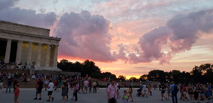 This was a magical summer evening in Washington, DC. Love this sunset with the Lincoln Memorial on the left. #travel #traveling #photo #photographer #travelblogger #travelblog #blog #sunset #love