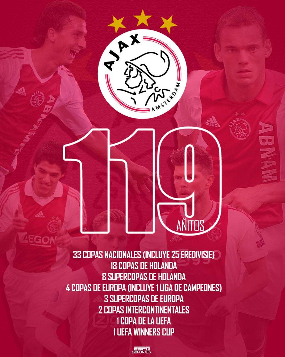 ¡Hoy el @AFCAjax celebra su aniversario 119!🎉 Por sus filas han pasado grandes estrellas del fútbol internacional ⚽ y en sus vitrinas tiene los trofeos para contar la grandeza de su historia. https://t.co/iRFeRcBBjC