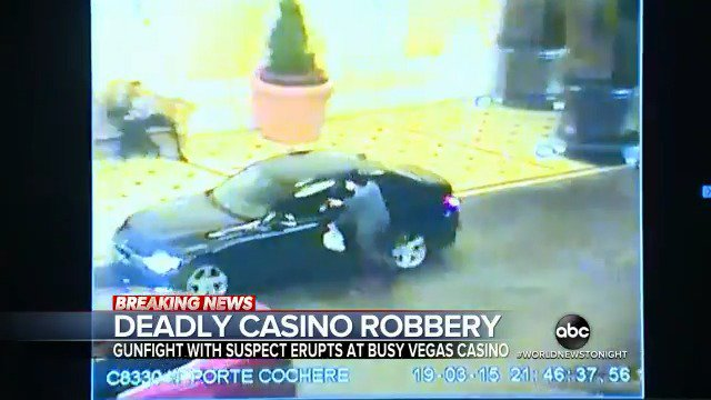 DEADLY CASINO ROBBERY: Authorities in Las Vegas have released new surveillance video from an attempted robbery inside the Bellagio Hotel and Casino, with the suspect opening fire on officers. @Clayton_Sandell reports. https://abcn.ws/2Ff1FgU