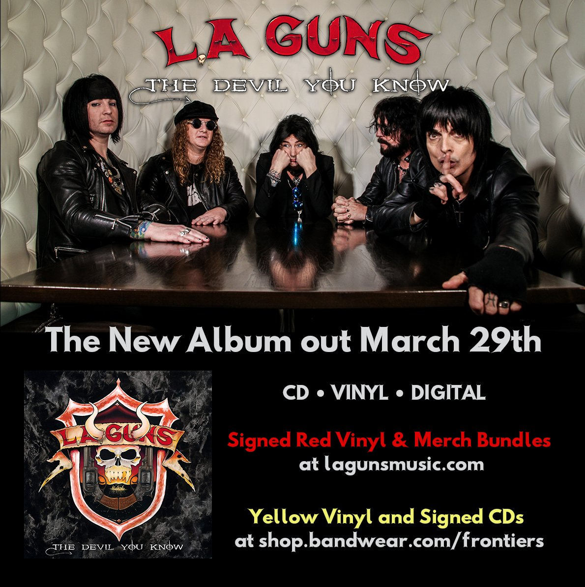 'The Devil You Know', the new album from @laguns is out on March 29th. Pre-order CD/LP/Digital HERE: http://radi.al/TheDevilYouKnow | Signed CDs HERE: https://shop.bandwear.com/Frontiers | Signed LPs HERE: http://www.lagunsmusic.com