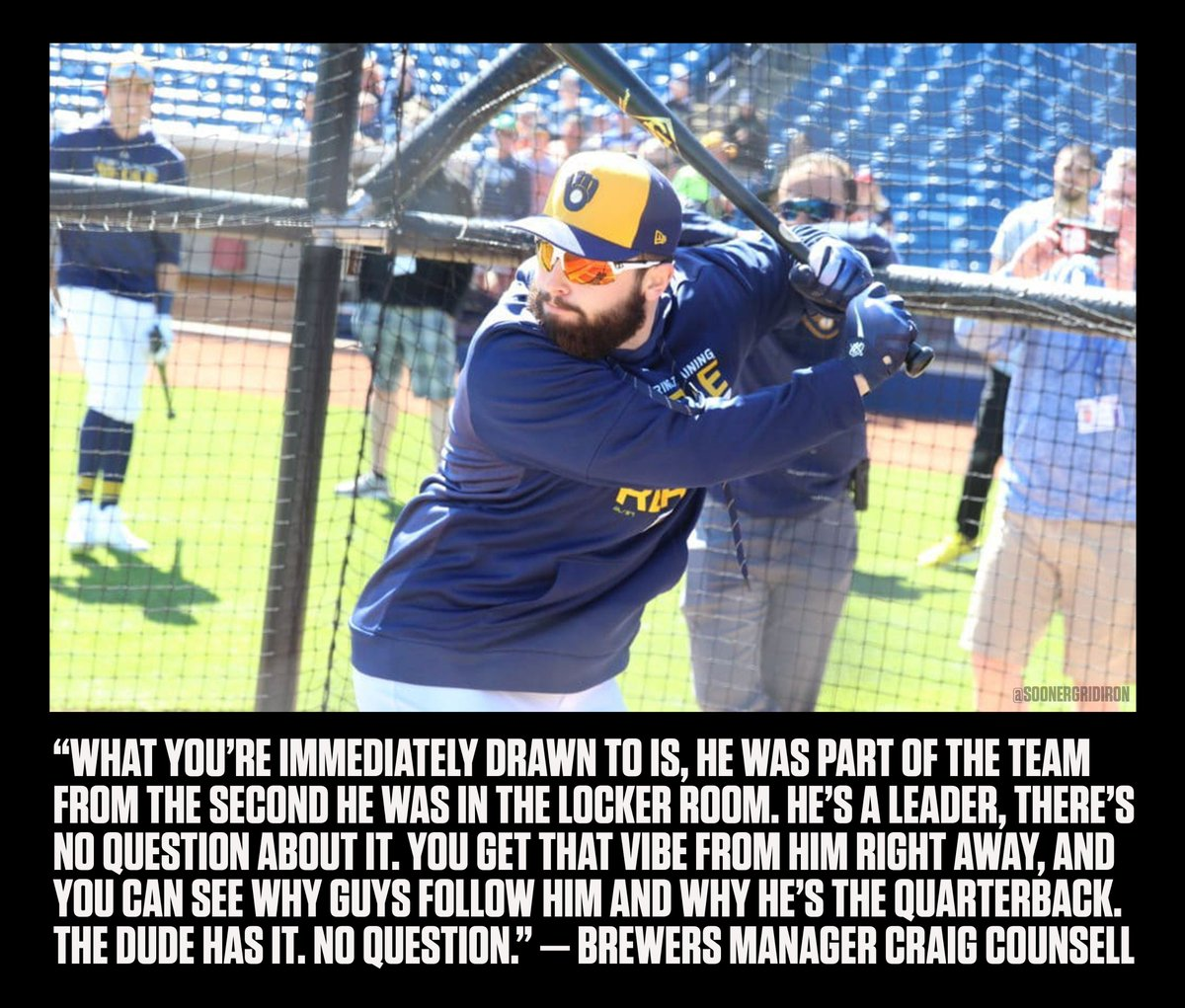 Milwaukee Brewers Manager Craig Counsell on Baker Mayfield.  &quot;You can see why guys follow him and why he&#39;s the quarterback. The dude has it. No question.&quot;  #OUDNA | #BoomerSooner<br>http://pic.twitter.com/vp3Lv9b38O
