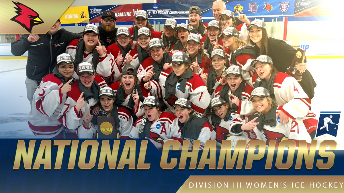 🏆 Congratulations to the SUNY Plattsburgh Cardinals, your 2019 #NCAAD3 Women's Ice Hockey NATIONAL CHAMPIONS! 🏆 #d3hky