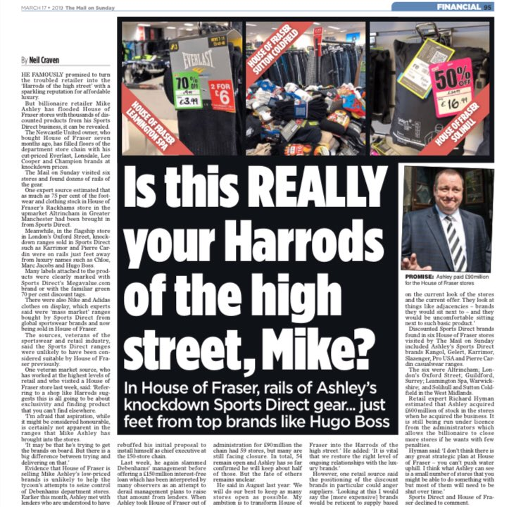 Mike Ashley's House of Fraser stores look like Leeds market in the 1970s - Mail on Sunday investigation reveals stores are full of Sports Direct own brand labels at discount prices. And this is the man who wants to run Debenhams.... <br>http://pic.twitter.com/Osp7SQMHCP