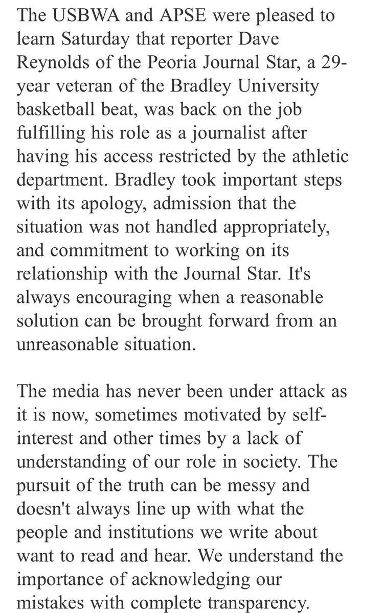 Statement from the @USBWA and @APSE_sportmedia regarding Bradley University's media policy: