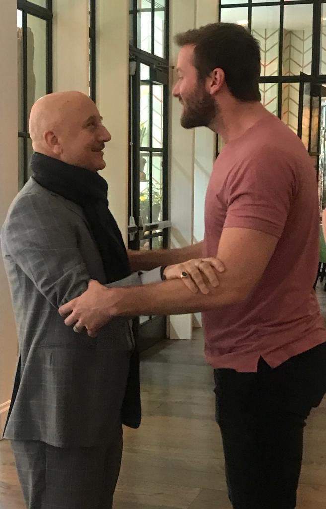 Always a joy to meet my friend and my co actor @armiehammer 😍@hotelmumbaifilm #PressJunket #Releasing22March