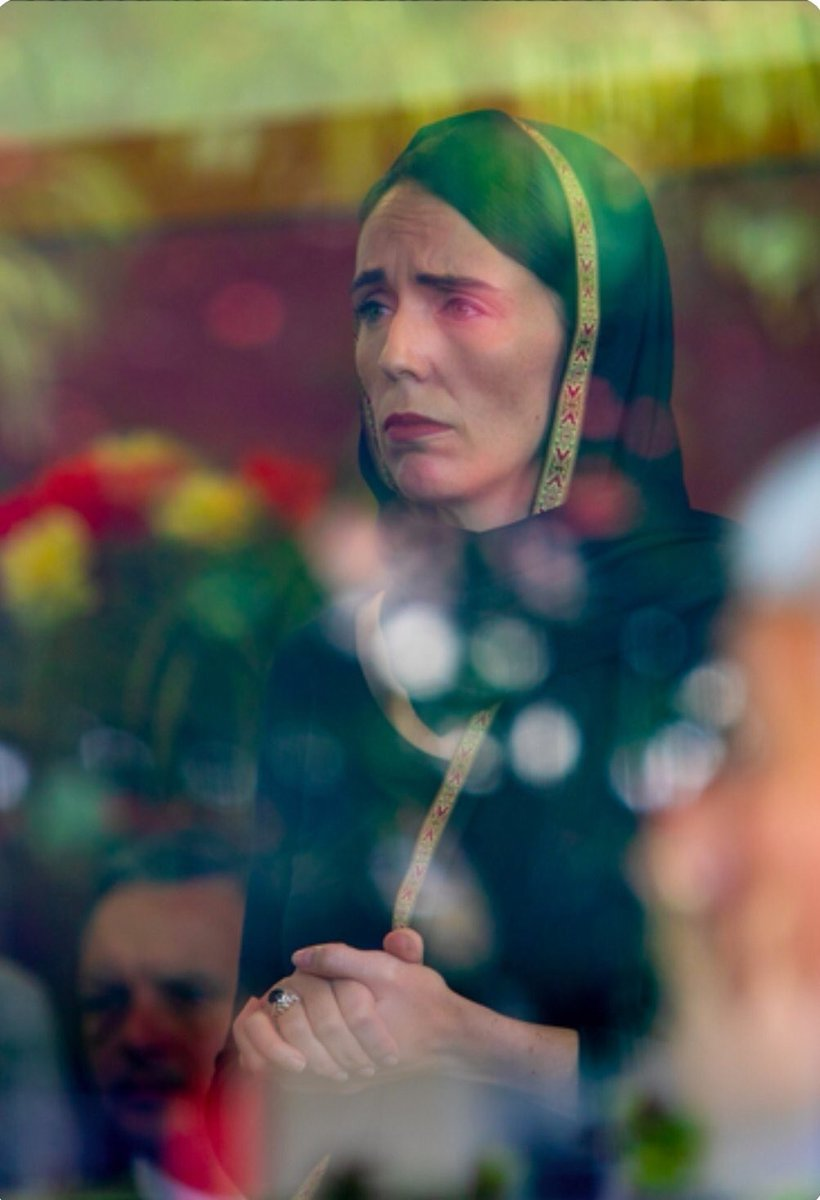 This is New Zealand Prime Minister Jacinda Ardern, grieving with the Muslim community as they mourn the 49 departed, & wearing a hijab in solidarity.❤️  What a powerful example of compassion and leadership. May she & her nation prosper in love & peace.❤️ #NewZealandMosqueAttack
