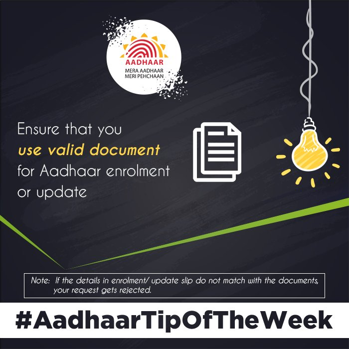#AadhaarTipOfTheWeek To avoid rejection of enrolment or update request, ensure that the details you fill in the slip, match with the supporting document. Pls check the list of valid documents acceptable for Aadhaar Enrolment or Update here:  https:// uidai.gov.in/images/commdoc /valid_documents_list.pdf &nbsp; … <br>http://pic.twitter.com/tUW59qcBfw