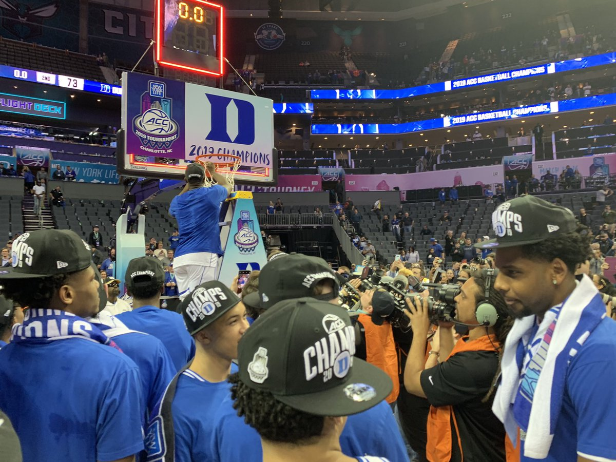 Zion Williamson cuts the net after #Duke wins the 2019 #ACCTourney .