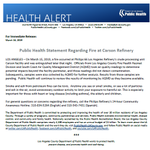 Image for the Tweet beginning: Public Health Statement Regarding Fire