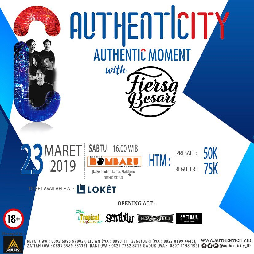 BENGKULU! Authentic moment . Saturday, March 23 2019 start from 17.00 at Bombarubar & Resto . Tiket available at http://Loket.com  CP : +62 822 77628713 +62 895 609597002 . Pre sale : 50k Tikect Box : 75k . For information: @authenticity_id or click http://www.authenticity.id