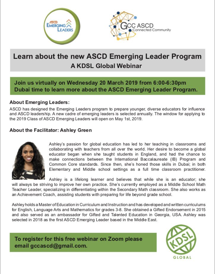 Join our upcoming webinar with @ASCD Emerging Leader @xashleysgreenx #ascdl2l #edchatmena #teachuaechat