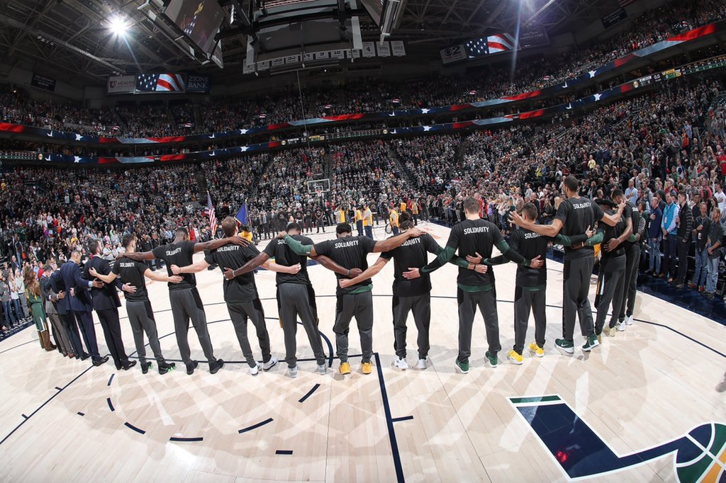 Solidarity! 💯 Thank you to the @utahjazz @BrooklynNets and the @NBA for supporting our stance on discrimination of all kinds 🙏🏾💯 And lastly thank you to our fans and our community🙏🏾