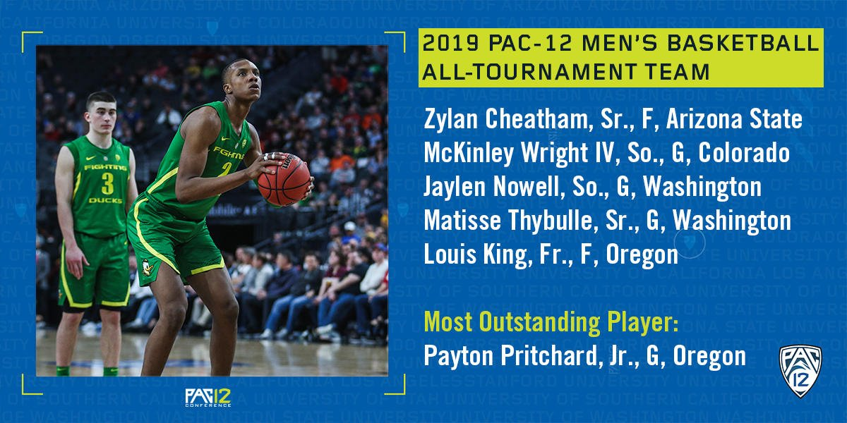 Congrats to the #Pac12Hoops All-Tournament team. @SunDevilHoops' Zylan Cheatham, @CUBuffsMBB's McKinley Wright IV, @UW_MBB's Jaylen Nowell and Matisse Thybulle and Pac-12 Tournament Champion @OregonMBB's Louis King. #BackthePac